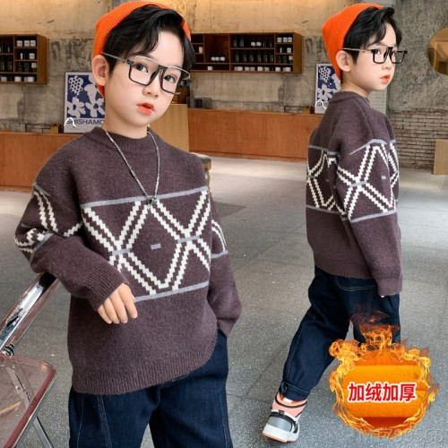 2020 new fashion children's Korean style knitted western style plus velvet thickening middle and big kids