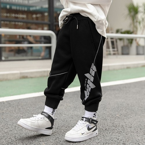 2020 new reflective casual pants autumn clothes handsome plus velvet pants for children