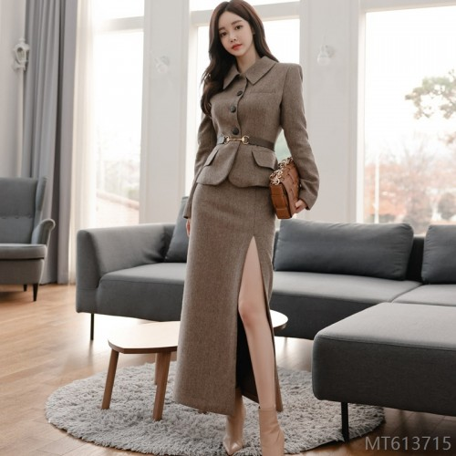 2020 new Korean style temperament slim coat waist split hip skirt
