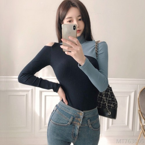 2020 new color matching slim simple knit top bottoming sweater wool sweater
