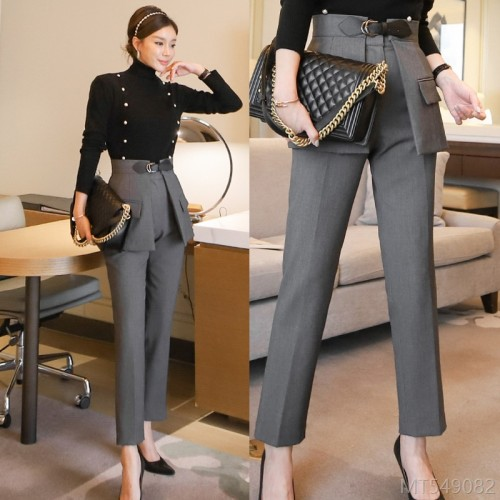 2020 new high-necked tops are fashionable and thin two-piece suit pants suit