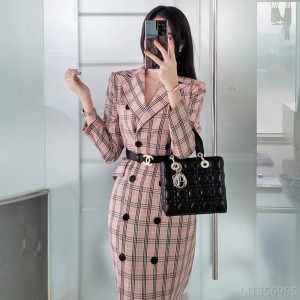 2020 new slim double-breasted plaid long jumpsuit
