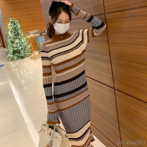 2020 new slim long skirt knitted fashion color matching sweater base skirt