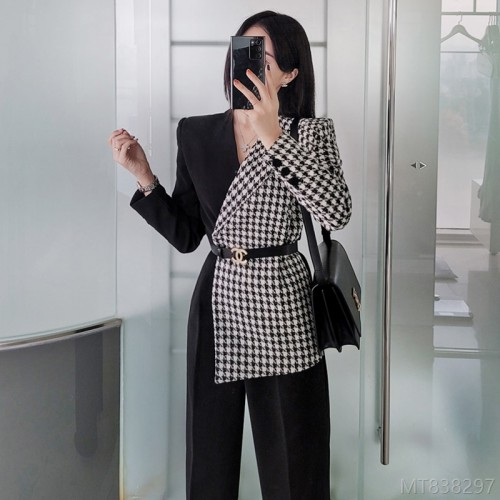 2020 new Korean version of OL temperament slim stitching houndstooth jumpsuit