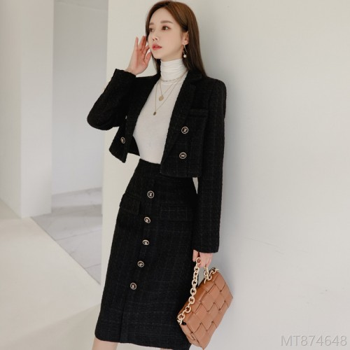 2020 new temperament suit collar woolen coat slim fit hip skirt suit