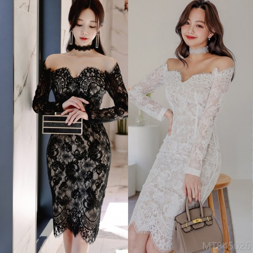 2020 new fashion one-neck slim lace fashion bag hip base skirt