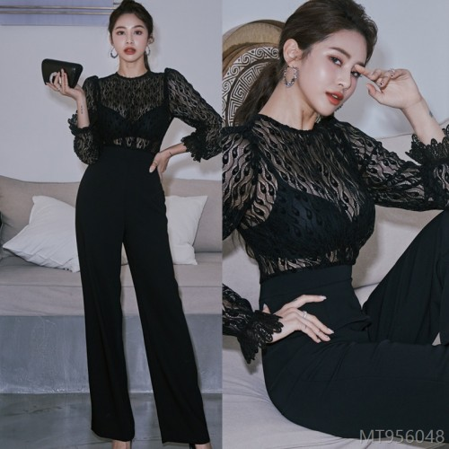 2020 new temperament slim stitching lace see-through jumpsuit