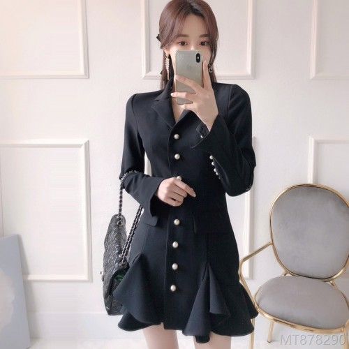 2020 new pearl buckle ruffled blazer style dress