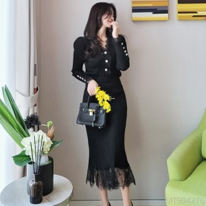 2020 new slim V-neck knitted top stitching lace sweater skirt suit