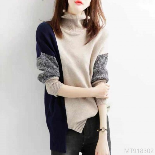 2020 new fashion high neck color matching split knit wool sweater