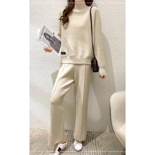 2020 new half high neck loose base all-match sweater + trousers suit sweater