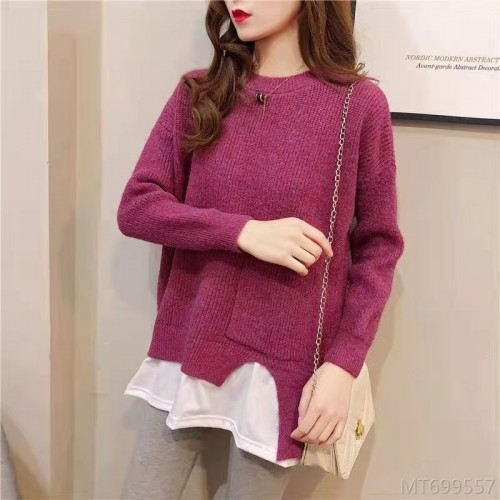 2020 new round neck loose stitching fake two-piece sweater