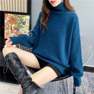 2020 new fashion mid-length net red turtleneck sweater women