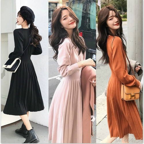 2020 new slim bottoming long skirt version slim over the knee knitted dress