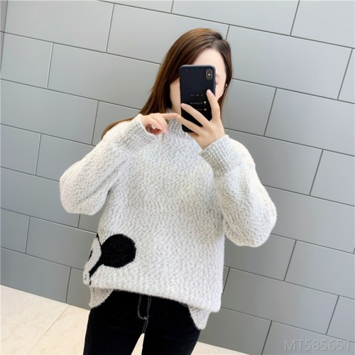 2020 new autumn and winter thick and loose outer wear short pullover inner base shirt