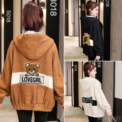 2020 new plus velvet thick autumn and winter fashion loose wild plush
