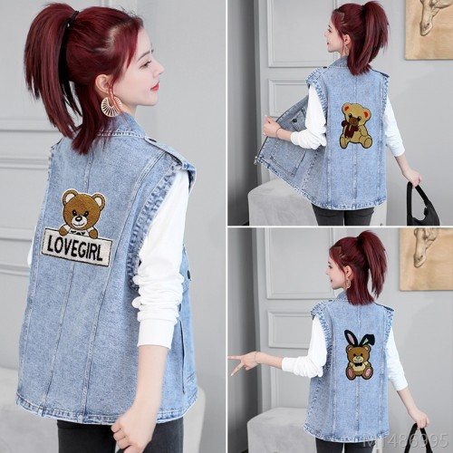 2020 new fashion short outer wear thin denim waistcoat vest waistcoat