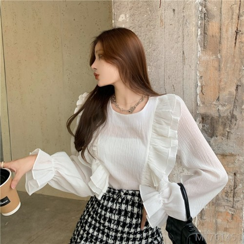 2020 new sweet design double layer ruffled round neck petal sleeve shirt