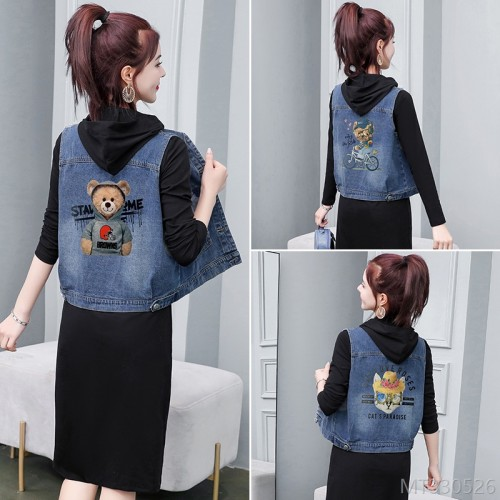 2020 new fashion denim + dress fashion vest T-shirt two-piece suit