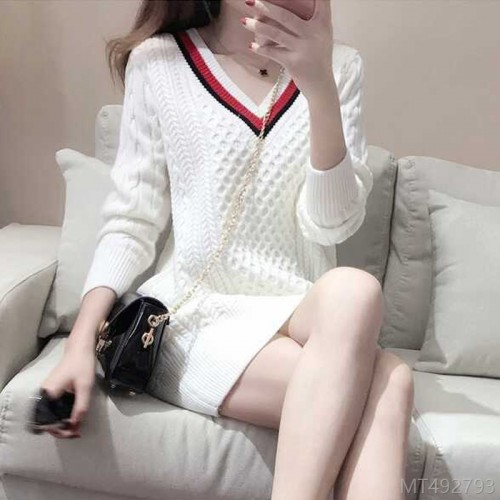 2020 new autumn and winter fashion Korean style slim V-neck short skirt long sleeve stitch