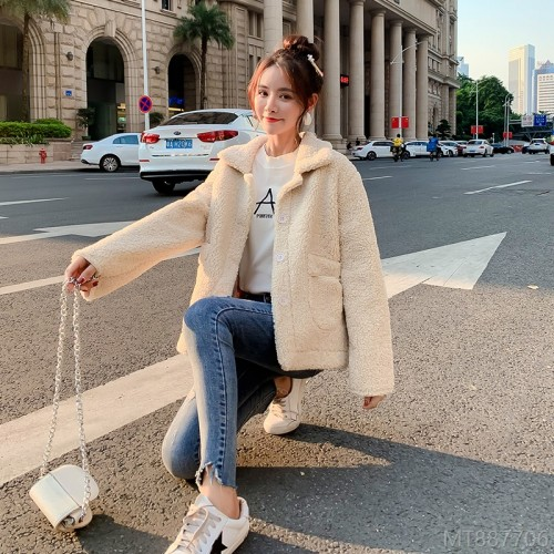 2020 new fashion Korean version of woolen women's fur lamb wool coat