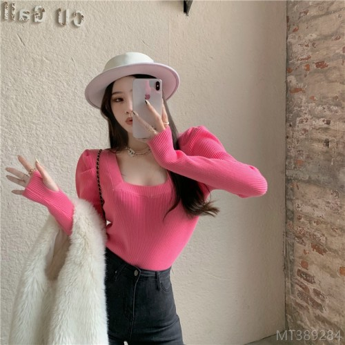 2020 new arrivals, all-match nett price~ Korea Ins square collar princess sleeves for outer wear