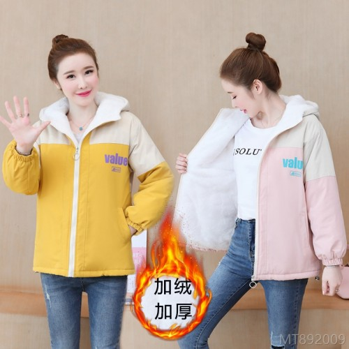 2020 new Korean version plus velvet thick loose student hooded short