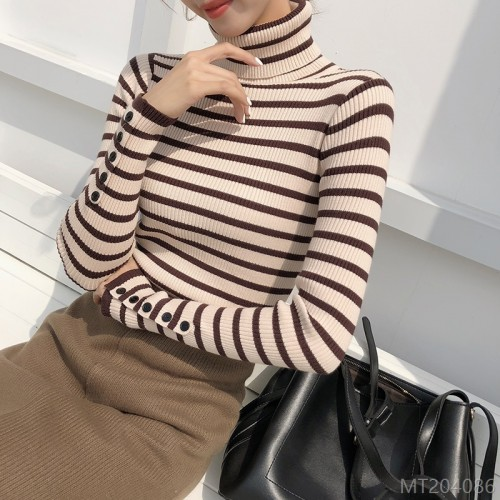 2020 new striped knitted bottoming shirt women fashion slim all-match sweater