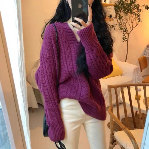 2020 new v-neck thick loose hedging twist purple sweater women autumn and winter jacket