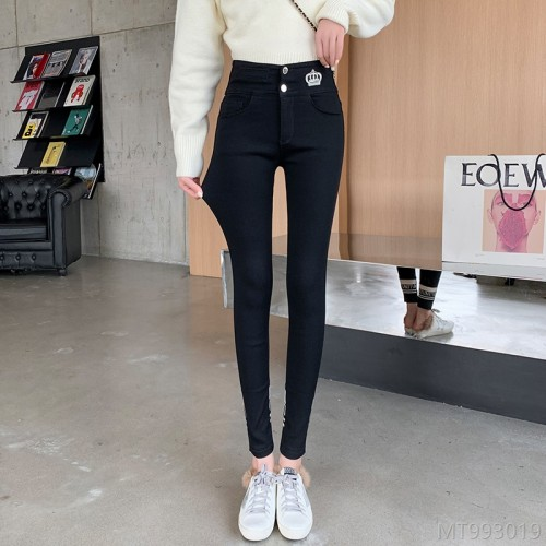 2020 new video all-match spring black embroidered leggings