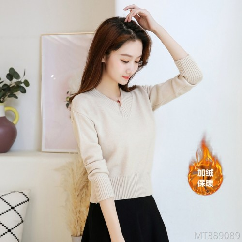 2020 new thick plus velvet warmth V-neck slim short base knit