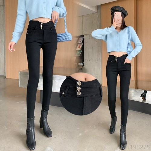 2020 new video all-match spring high elastic wash water-breasted tight high waist pants