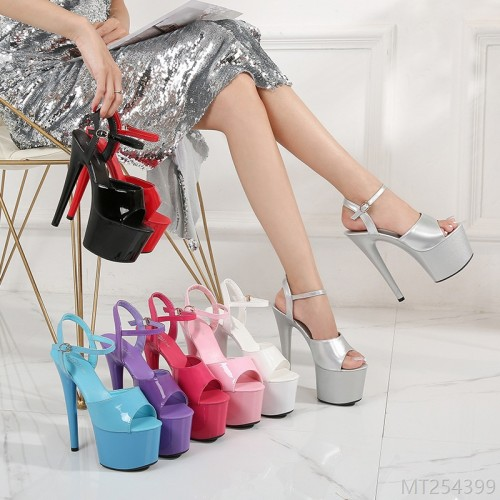 2020 new style-patent leather sandals, high heels, stiletto sexy black waterproof platform