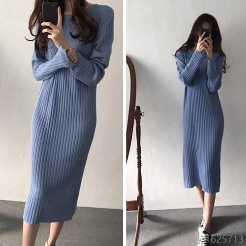 2020 new new sweater skirt long women fashion winter dress over the knee long skirt