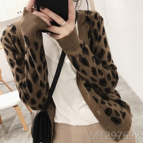 2020 new retro western style leopard print sweater cardigan women sweater jacket