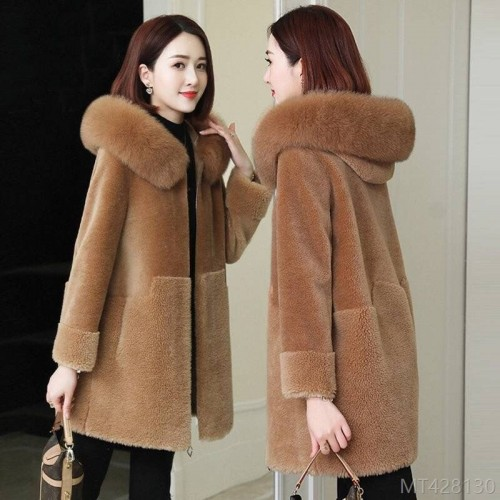 2020 new sheep shearling coat mid-length female autumn and winter particle cashmere coat
