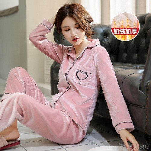 2020 new coral velvet pajamas women autumn and winter warm gold velvet two-piece suit