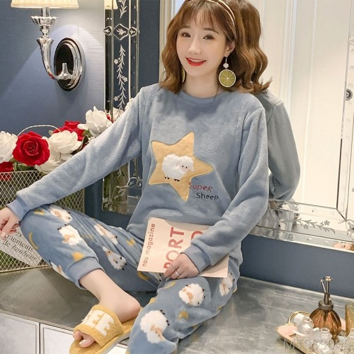 2020 new new autumn and winter flannel women's long-sleeved warm suit