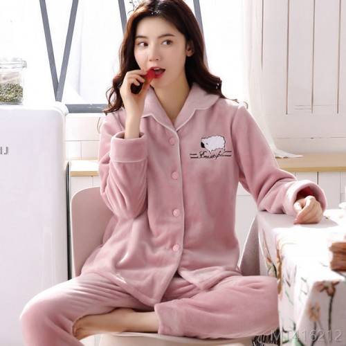 2020 new new autumn and winter pajamas thickened warmth ladies flannel cardigan