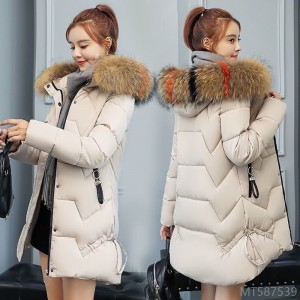 2020 new mid-length large fur collar Korean style slim thick padded jacket loose