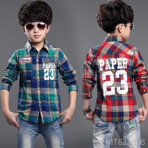 2018 long-sleeved shirt Korean boy big boy cotton plus velvet winter plaid shirt
