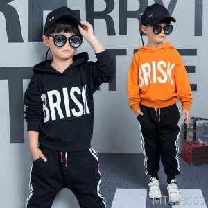 2018 new autumn long-sleeved boy suit spring and autumn big boy casual hooded two-piece