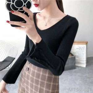 2018 new sweater female V-neck tassel long-sleeved trumpet sleeve sweater shirt top shirt