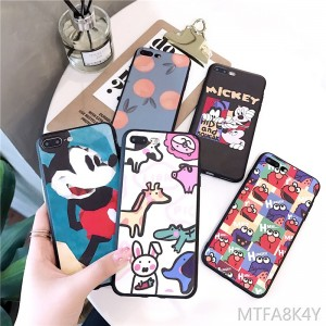 Ins with the cute cartoon apple x mobile phone shell men and women models iPhone7plus all-inclusive soft shell 6p silicone shell tide brand personality text Apple 6s mobile phone sets lovers 8plus protective cover tide