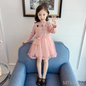 2018 spring and autumn new foreign girl stitching dress female baby mesh princess dress