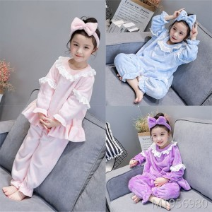 2018 flannel clothing suits girls pajamas sleep pants female baby princess coral fleece three-piece