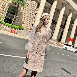 2018 autumn and winter lace shirt long sleeve bottoming shirt plaid vest dress two-piece suit