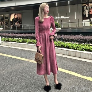 2018 autumn and winter new waist net red dress over the knee women thick long section