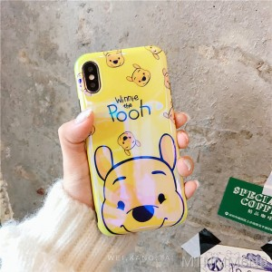 Blu-ray laser cute cartoon bear xs max apple 6splus silicone case iPhone7plus mobile phone shell couple apple x all-inclusive 8plus soft shell 6s men and women shell iPhone6