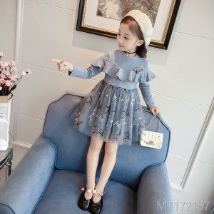 2018 autumn new fashion princess dress children's long-sleeved lace dress children's wear